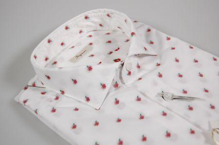 Camicia ingram slim fit bianca con mela ricamata