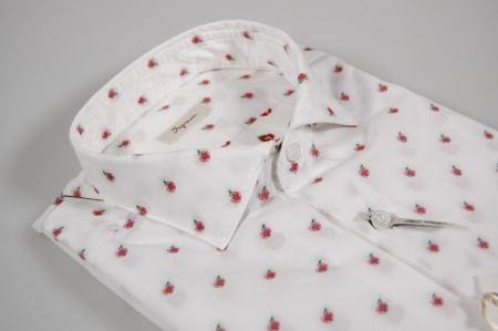 Slim fit shirt white with embroidered Apple ingram