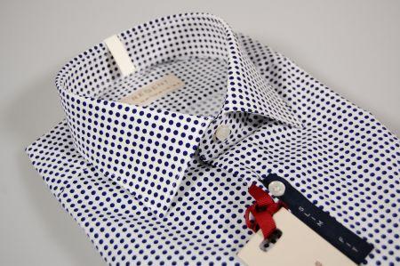 Camicia pancaldi in cotone slim fit a pois in due colori