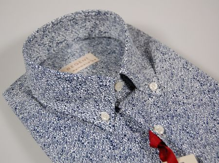 White and blue patterned pachapur short sleeved shirt