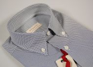Small blue design shirt short sleeve button down collar