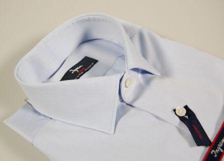 Camicia slim fit celeste ingram no stiro cotone operato mille righe picchè