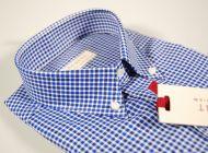 Camicia pancaldi a quadretti blu e azzurro button down