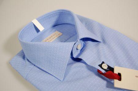 Camicia pancaldi slim fit celeste a pois in puro cotone