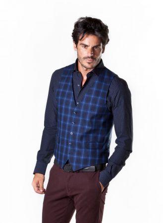 Gilet blu a quadri john barritt vestibilità slim