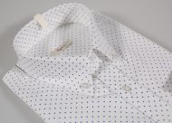 White shirt with polka dots small blue button down collar
