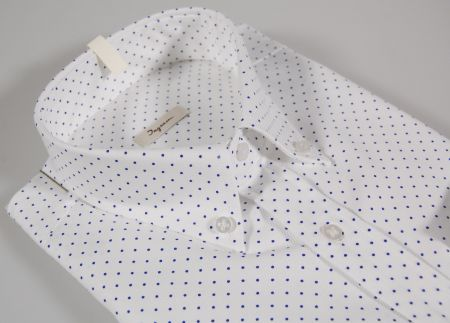 Camicia bianca a pois piccoli blu collo button down