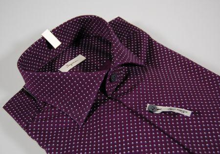 Camicia moda slim fit ingram bordò micro fantasia