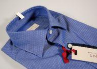 Camicia azzurro scuro a pois slim fit pancaldi