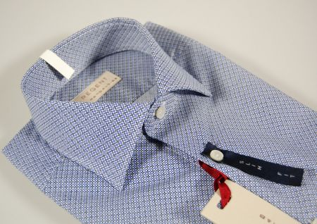 Camicia micro fantasia azzurra Regent by Pancaldi slim fit