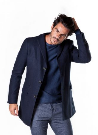 Cappotto slim fit in misto lana a tre bottoni ticket pocket