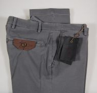 Grey slim fit stretch cotton pants besettecento tiny patterns