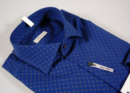 Camicia ingram slim fit blu micro fantasia marrone