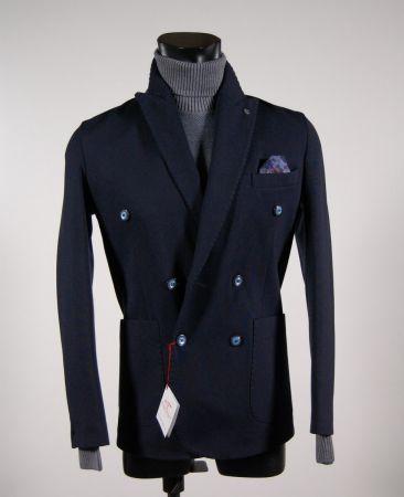 Fashion stretch slim fit jacket blue-breasted falko rosso
