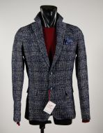 Slim fit jacket unlined Falko Rosso Blue Plaid