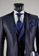 Slim fit suit musani ceremony in blue and black
