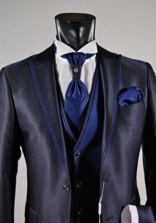 Abito da sposo slim fit musani cerimonia in colore blu e nero