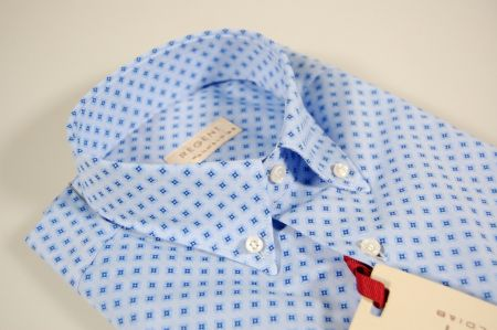 Camicia azzurra a fantasia pancaldi collo button down con taschino