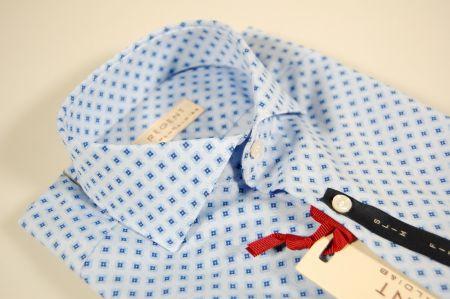 Camicia slim fit celeste a fantasia azzurra pancaldi