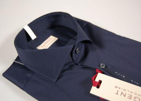 Camicia blu scuro slim fit pancaldi in cotone elasticizzato