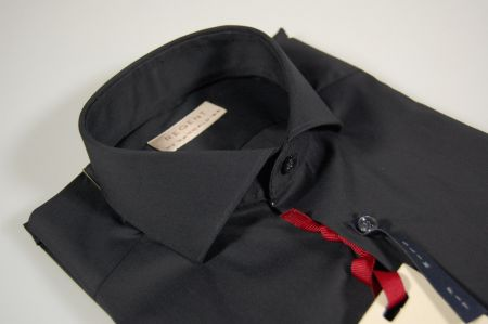 Camicia nera slim fit collo francese pancaldi