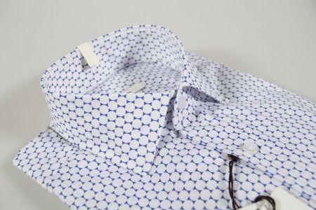 Camicia slim fit fantasia stampata azzurra ingram