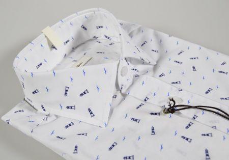 Blue print blue slim fit shirt ingram