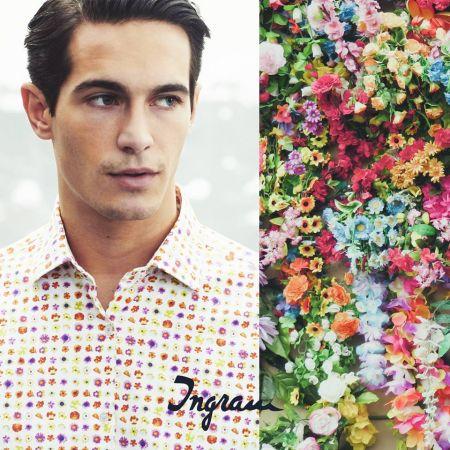 Multicolor floral pattern shirt slim fit stretch cotton ingram