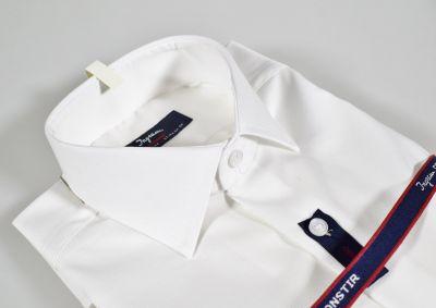 Camicia ingram bianca slim fit cotone no stiro lavorato