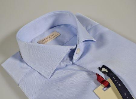 Blue slim fit cotton pique shirt regent by pancaldi