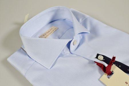 Camicia sfiancata celeste chiaro pancaldi collo alla francese