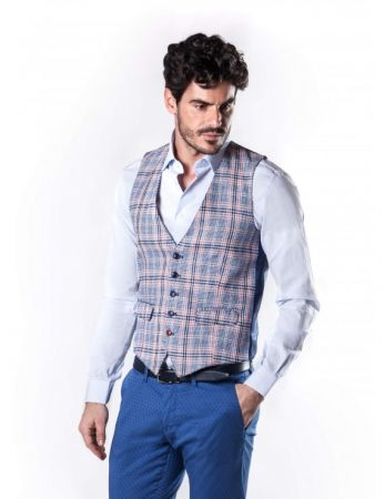 Gilet slim fit john barritt in cotone e lino a quadri