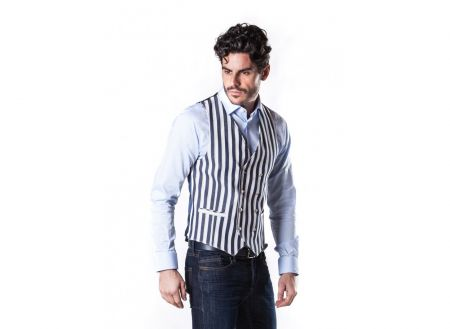 Double breasted waistcoat vest John Barritt cotton striped design
