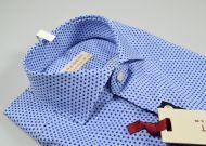 Camicia pancaldi slim fit stampa azzurra collo francese