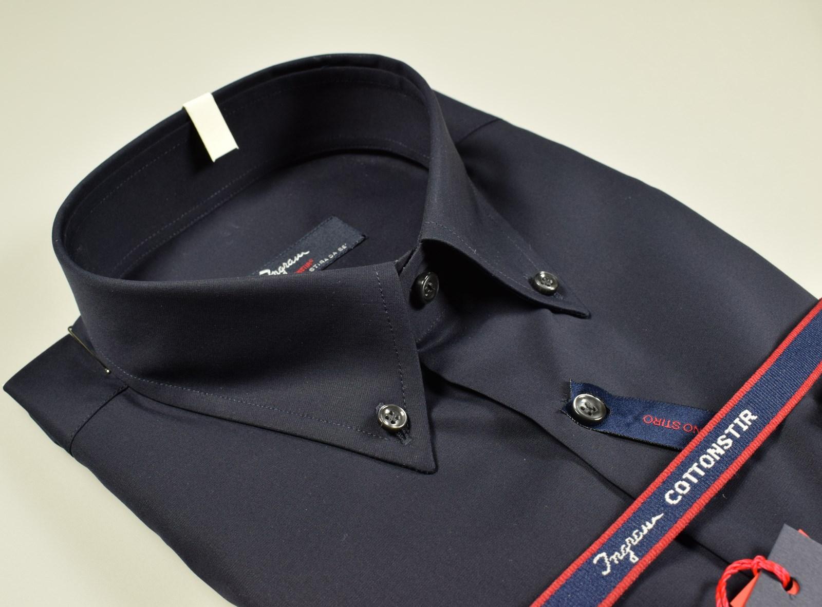 Dettagli su Camicia Ingram a righe Azzurro vestibilità regolare Cotone No Stiro Taglia 41 L