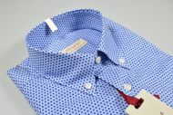 Camicia button down pancaldi azzurra micro stampa regular fit