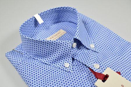 Camicia button down pancaldi azzurra micro stampa regular fit