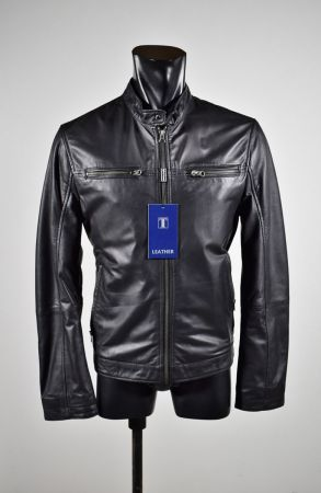 Black leather jacket straight bottom talents spring summer