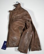 Short jacket brown leather slim fit talents