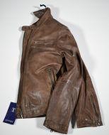 Short jacket brown leather slim fit talents
