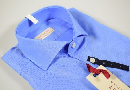 Blue shirt pancaldi slim fit half-neck french