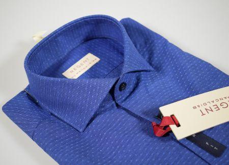 Camicia blu micro disegno pancaldi slim ft collo mezzo francese