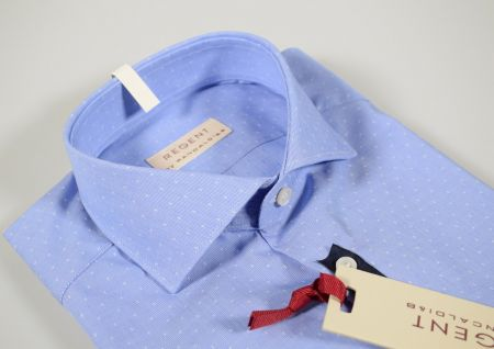 Slim fit blue clear micro fantasy collar half sleeve shirt french