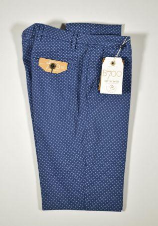 Pantalone a fantasia cotone stretch Bsettecento slim fit in tre colori