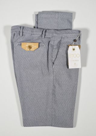 Bsettecento Slim fit trousers in grey stretch cotton micro design