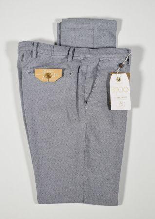 Pantalone bsettecento slim fit in cotone stretch grigio micro fantasia