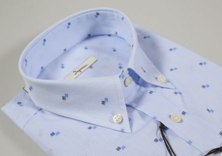 Camicia ingram button down celeste mille righe con micro disegno fil coupè