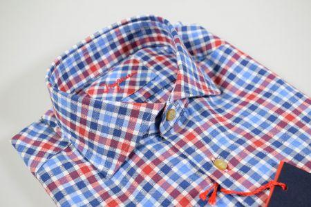 Camicia ingram a quadretti rosso e blu vestibilità slim fit