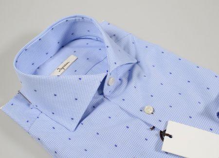 Camicia ingram slim fit a quadretti azzurro chiaro micro disegno fil coupè