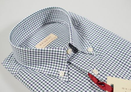 Shaved flannel shirt pancaldi collar button down with pocket